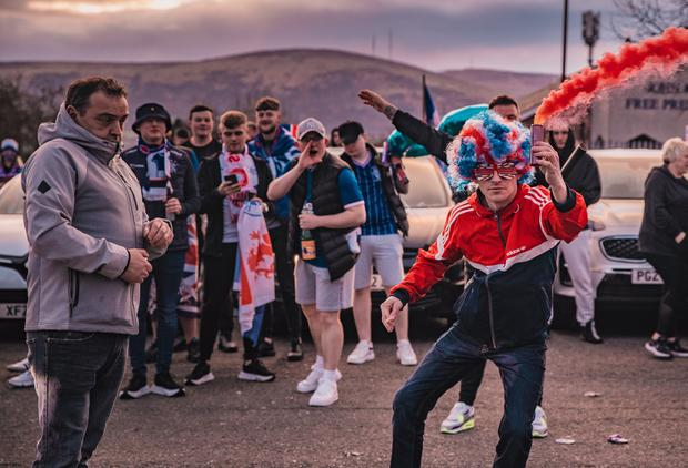 Celebrations on the Shankill Road as Rangers win their 55th Scottish Premiership title on March 7, 2021 (Photo by Kevin Scott for Belfast Telegraph)