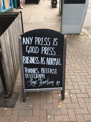 The chalk board outside the cafe on Friday