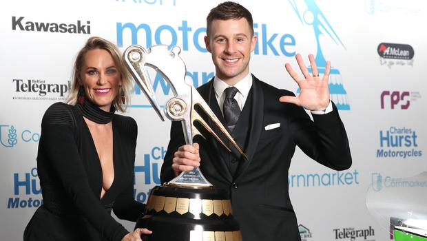 Irish Motorcyclist of the Year and five times World Superbike champion Jonathan Rea pictured with his wife Tatia. Picture by Stephen Davison.