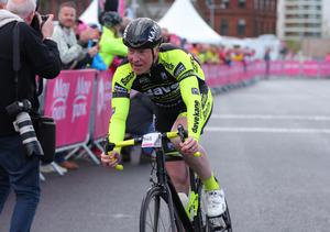 Picture - Kevin Scott / Presseye  Belfast - Northern Ireland - 21st June 2015 - Gran Fondo Giro d'Italia Northern Ireland   Pictured is Paul Kane as he crosses the line at Titianic Quarter in Belfast during the Gran Fondo Giro d'Italia  Picture by Kevin Scott / Presseye