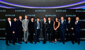 Barry Keoghan (left to right), Aneurin Barnard, Jake Lowden, James D'arcy, Sir Mark Rylance, Cillian Murphy, Fionn Whitehead, Harry Styles, Emma Thomas, Christopher Nolan, Tom Hardy and Sir Kenneth Branagh attending the Dunkirk world premiere at the Odeon Leicester Square, London. PRESS ASSOCIATION Photo. Picture date: Thursday July 13, 2017. See PA story SHOWBIZ Dunkirk. Photo credit should read: Ian West/PA Wire