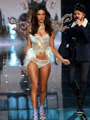 NEW YORK, NY - NOVEMBER 10:  Model and Victoria's Secret Angel Alessandra Ambrosio from Brazil walks the runway while The Weeknd performs during the 2015 Victoria's Secret Fashion Show at Lexington Avenue Armory on November 10, 2015 in New York City.  (Photo by Dimitrios Kambouris/Getty Images for Victoria's Secret)