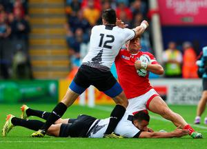 LEICESTER, ENGLAND - OCTOBER 06:  DTH Van Der Merwe of Canada feels the force of Florin Vlaicu of Romania (12) during the 2015 Rugby World Cup Pool D match between Canada and Romania at Leicester City Stadium on October 6, 2015 in Leicester, United Kingdom.  (Photo by Michael Steele/Getty Images)