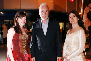 Ser Barristan Selmy, also known as Ulster actor Ian McElhinney, on the red carpet with damsels Ali Campeau (left) and Debbie McCormack for the exclusive preview of Game of Thrones Season 4 Episode1 at the Moviehouse, Dublin Road, Belfast, as part of the 14th Belfast Film Festival. Picture by Brian Morrison.