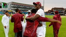 West Indies captain Jason Holder celebrates after winning the second Investec Test between England and the West Indies. Photo: Gareth Copley/Getty Images