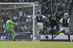 GLASGOW, SCOTLAND - MAY 26: Gary Hooper of Celtic scores the opening goal during the William Hill Scottish Cup Final match between Celtic and Hibernian at Hampden Stadium on May 26, 2013 in Glasgow, Scotland. (Photo by Ian MacNicol/Getty Images)