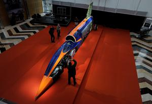 The product of eight years of research, design and manufacturing, involving over 350 companies and universities, the car is the centre-piece of a free exhibition, booked out within days of being announced, with 8000 people coming to see the Land Speed Racer. (Nick Ansell/PA Wire)
