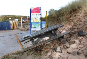 Scene of destruction by the sea at the Strand beach in Portstewart. Pic Margaret McLaughlin