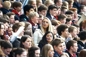 17th March 2015   ??William Cherry/Presseye  Fans cheer on their team at the Danske Bank Ulster Schools?? Cup final at Kingspan Stadium.