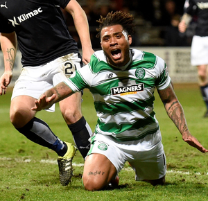 Hard fought: Celtic's Colin Kazim-Richards at Dens Park last night