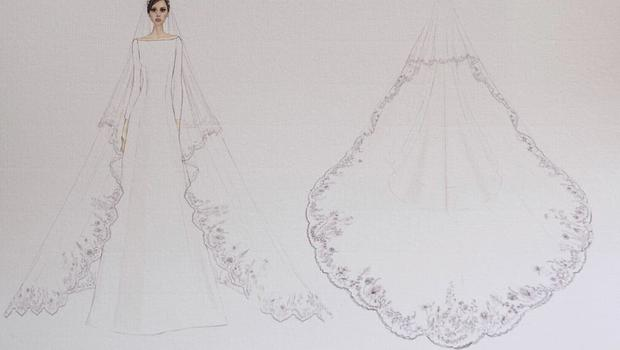 One of designer Clare Waight Keller's sketches for Meghan Markle's wedding dress (Kensington Palace/Twitter/PA)