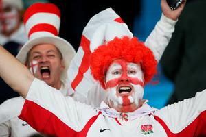 LONDON, ENGLAND - SEPTEMBER 26:  An England fan with a painted face enjoys the pre match atmosphere during the 2015 Rugby World Cup Pool A match between England and Wales at Twickenham Stadium on September 26, 2015 in London, United Kingdom.  (Photo by David Rogers/Getty Images)