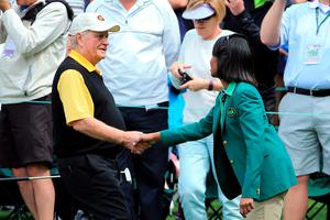 AUGUSTA, GEORGIA - APRIL 06:  Former United States Secretary of State Condoleezza Rice greets Jack Nicklaus during the Par 3 Contest prior to the start of the 2016 Masters Tournament at Augusta National Golf Club on April 6, 2016 in Augusta, Georgia.  (Photo by David Cannon/Getty Images)