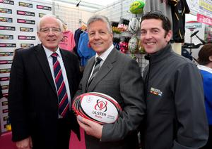 First Minister Peter Robinson pictured with Lisburn Councillor Alan Ewart and Julian Stevenson from Sports Dock at the Balmoral Show. Pic William Cherry/Presseye
