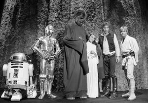"""FILE - In this Nov. 13, 1978 file photo, shows, from left, Kenny Baker, Anthony Daniels, Peter Mayhew, Carrie Fisher, Harrison Ford, and Mark Hamill during the filming of the CBS-TV special """"The Star Wars Holiday"""" in Los Angeles. On Tuesday, Dec. 27, 2016, a publicist says Fisher has died at the age of 60. (AP Photo/George Brich, File)"""