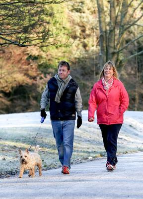 Walkers enjoying the frosty morning on the path leading through Lady Dixon Park. Pic Kevin Scott / Belfast Telegraph