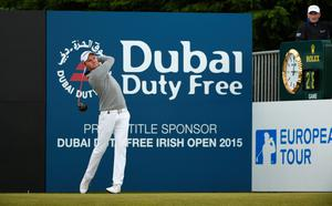 NEWCASTLE, NORTHERN IRELAND - MAY 30:  Maximilian Kieffer of Germany tees off on the 1st hole during the Third Round of the Dubai Duty Free Irish Open Hosted by the Rory Foundation at Royal County Down Golf Club on May 30, 2015 in Newcastle, Northern Ireland.  (Photo by Ross Kinnaird/Getty Images)