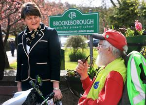 ©/Presseye.com - 5th May 2016.  Press Eye Ltd - Northern Ireland   Picture by Presseye.com  DUP Leader, Arlene Foster, speaks to a local resident after arriving at Brookeborough Controlled Primary School to cast her vote in today's  Assembly Election.