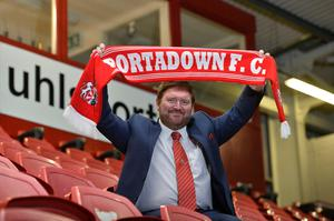 Home town boy: Niall Currie is unveiled as the new Portadown manager at Shamrock Park yesterday