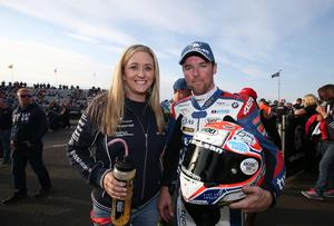 Press Eye - Belfast - Northern Ireland 11th May 2017 - Picture by Desmond Loughery / Press Eye.  Vauxhall International North West 200.  Super stock race.  Race winner Alastair Seeley along with fiancee Dani