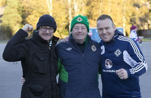 Press Eye - Belfast -  Northern Ireland - 11th October 2015 - Photo by William Cherry  Northern Ireland fans Graham Kenny Jnr, Graham Kenny and Jeff Magee before Sundays UEFA Euro 2016 Qualifier against Finland at at the Helsingin Olympiastadion in Helsinki.