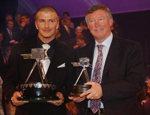 File photo dated 9/12/2001 of England's David Beckham (L) with his BBC Sports Personality of the Year Award 2001 and Manchester United manager Sir Alex Ferguson with his Lifetime Achievement Award at BBC Television Centre, London. PRESS ASSOCITAION Photo. Issue date: Wednesday May 8, 2013. Sir Alex Ferguson will retire at the end of this season, Manchester United have announced. See PA Story SOCCER Man Utd. Photo credit should read: Toby Melville/PA Wire.