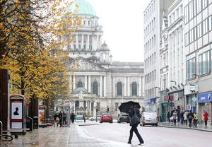 Press Eye - Belfast - Northern Ireland - 16th October 2017  Belfast City Centre shuts down ahead of storm Ophelia.  Business closed their doors with employees being sent home for safety as Ireland north and south braces for the storm.    Picture by Jonathan Porter/PressEye