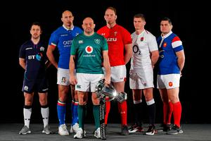 TOPSHOT - Six nations rugby captains (L-R) Scotland's Greig Laidlaw, Italy's Sergio Parisse, Ireland's Rory Best, Wales' Alun Wyn Jones, England's Owen Farrell and France's Guilhem Guirado pose with the trophy during the 6 Nations Launch event at The Hurlingham Club in west London on January 23, 2019. (Photo by ADRIAN DENNIS / AFP)ADRIAN DENNIS/AFP/Getty Images
