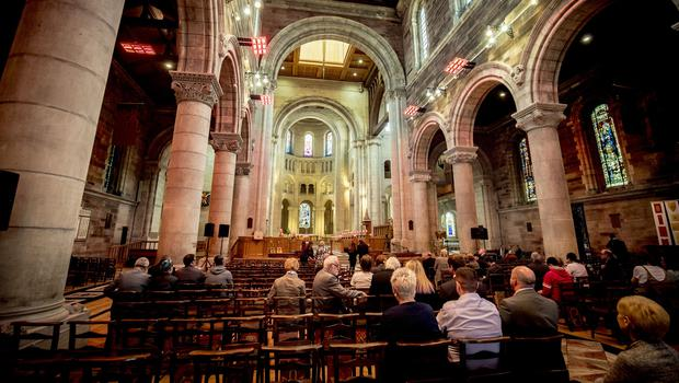 Mourners begin to gather for the funeral of Lyra McKee at St Anne's Cathedral in Belfast on April 24th 2019 (Photo by Kevin Scott for Belfast Telegraph)