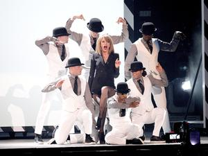 Taylor Swift performs on stage during the 2015 Brit Awards at the O2 Arena, London