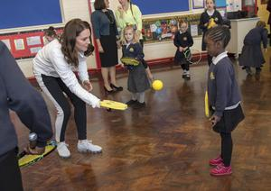 Kate during her 2018 visit to the Bond Primary School to see children during their tennis lessons. Arthur Edwards/The Sun