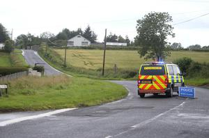 Police at the scene of an accident on the Hiltonstown Road near Portglenone Photo: Steven McAuley/McAuley Multimedia