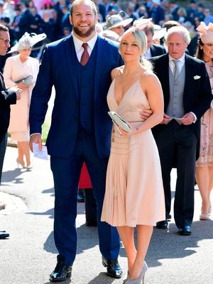 James Haskell and Chloe Madeley arrives at St George's Chapel at Windsor Castle for the wedding of Meghan Markle and Prince Harry. PRESS ASSOCIATION Photo. Picture date: Saturday May 19, 2018. See PA story ROYAL Wedding. Photo credit should read: Ian West/PA Wire