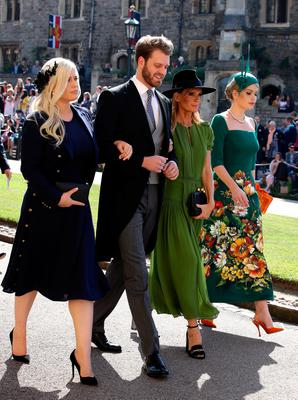 Eliza Spencer, Louis Spencer, Victoria Aitken and Kitty Spencer arrive at St George's Chapel at Windsor Castle for the wedding of Meghan Markle and Prince Harry. PRESS ASSOCIATION Photo. Picture date: Saturday May 19, 2018. See PA story ROYAL Wedding. Photo credit should read: Chris Radburn/PA Wire
