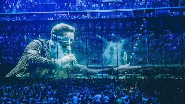 The U2 performing on their Innocence + Experience Tour.