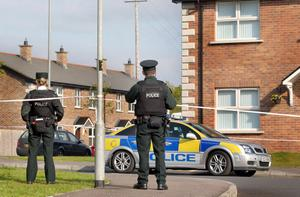 The scene in Bellaghy village, Co-Derry, where 18-year-old Lauren O'Neill was shot dead and her sister Brenda seriously injured by Phelim McNally. Picture Margaret McLaughlin