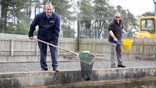 Agriculture Minister Edwin Poots MLA during a visit to Movanagher Fish Farm in Co Antrim