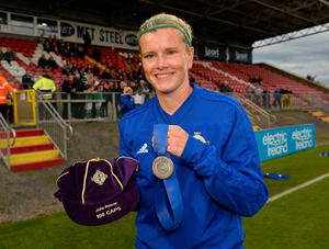 Ton up: Julie Nelson with her 100th NI cap