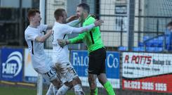 Flying ducks: John Connolly is congratulated by his Ballinamallard team-mates on Saturday