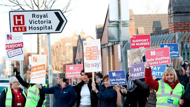 Health staff on the picket line at the Royal Victoria Hospital on Monday