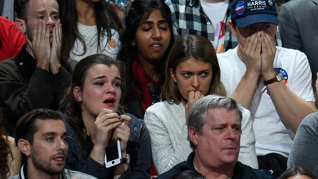 Supporters of Democratic presidential nominee Hillary Clinton react during election night at the Jacob K. Javits Convention Center in New York on November 8, 2016.  / AFP PHOTO / Jewel SAMADJEWEL SAMAD/AFP/Getty Images