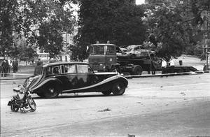 The Duke of Edinburgh's car passing the site of the 1982 Hyde Park bomb in which four soldiers died.