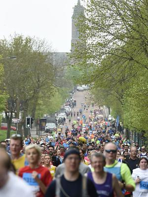 7/5/18: Runners taking part in the Belfast Marathon run on the Holywood Road in East Belfast.  Picture: Michael Cooper