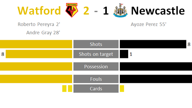 A graphic of the Watford v Newcastle game