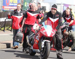 Northern Ireland- 14th May 2013 Mandatory Credit - Photo-Jonathan Porter/Presseye.  The Vauxhall International North West 200 - First practice day.   Ryan Fraquhar on the grid.
