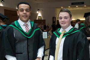 No Fee for Reproduction  Graduating from the Ulster University today with a degree in Business are, Adam McClintock and Gavin Duffy from Derry. Picture Martin McKeown. Inpresspics.com. 20.06.15