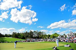 AUGUSTA, GEORGIA - APRIL 07:  Shane Lowry of Ireland putts on the ninth green during the first round of the 2016 Masters Tournament at Augusta National Golf Club on April 7, 2016 in Augusta, Georgia.  (Photo by Harry How/Getty Images)