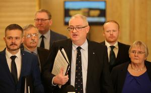 UUP leader Steve Aiken leads his party through the Great Hall at Parliament Buildings in east Belfast to enter the Assembly chamber.   Picture by Jonathan Porter/PressEye