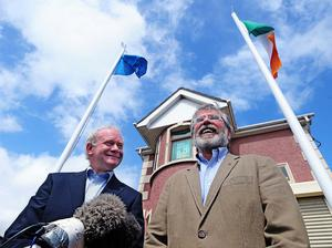 Pacemaker Press Belfast 9-05-2011: Martin McGuinness and Gerry Adams of Sinn Fein pictured during a Press Conference in Belfast this afternoon, where the pair spoke of the parties success in last wekends election. Picture By: Arthur Allison.