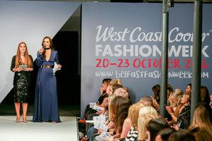 West Coast Cooler Fashion Week. Pictured: Cathy Martin and Rebecca McKinney of Cool FM open the show. Picture: Philip Magowan / PressEye (21st October 2016)